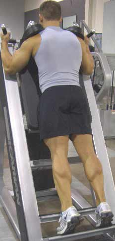 man doing calf exercise